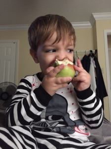 He does love him some apples though.